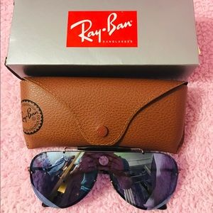 Ray Ban Bronze Violet Mirror Aviator Sunglasses